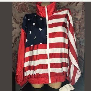 Tops - Vtg Argee Sports American Flag Windbreaker NWT XL